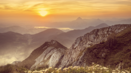 He is Risen Mountains sermon title 16x9 PowerPoint Photoshop image