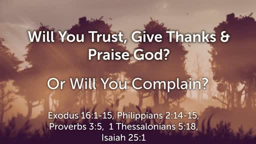 Will You Trust, Give Thanks &  Praise God or Will You Complain?