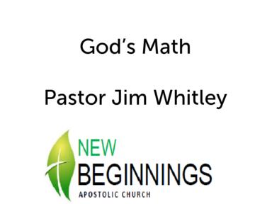 God's Math-Wed 5/30