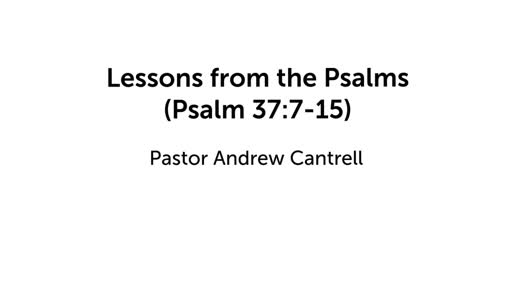Lessons from the Psalms (Psalm 37:7-15)