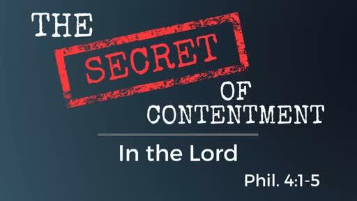 June 10, 2018 - Secret of Contentment -