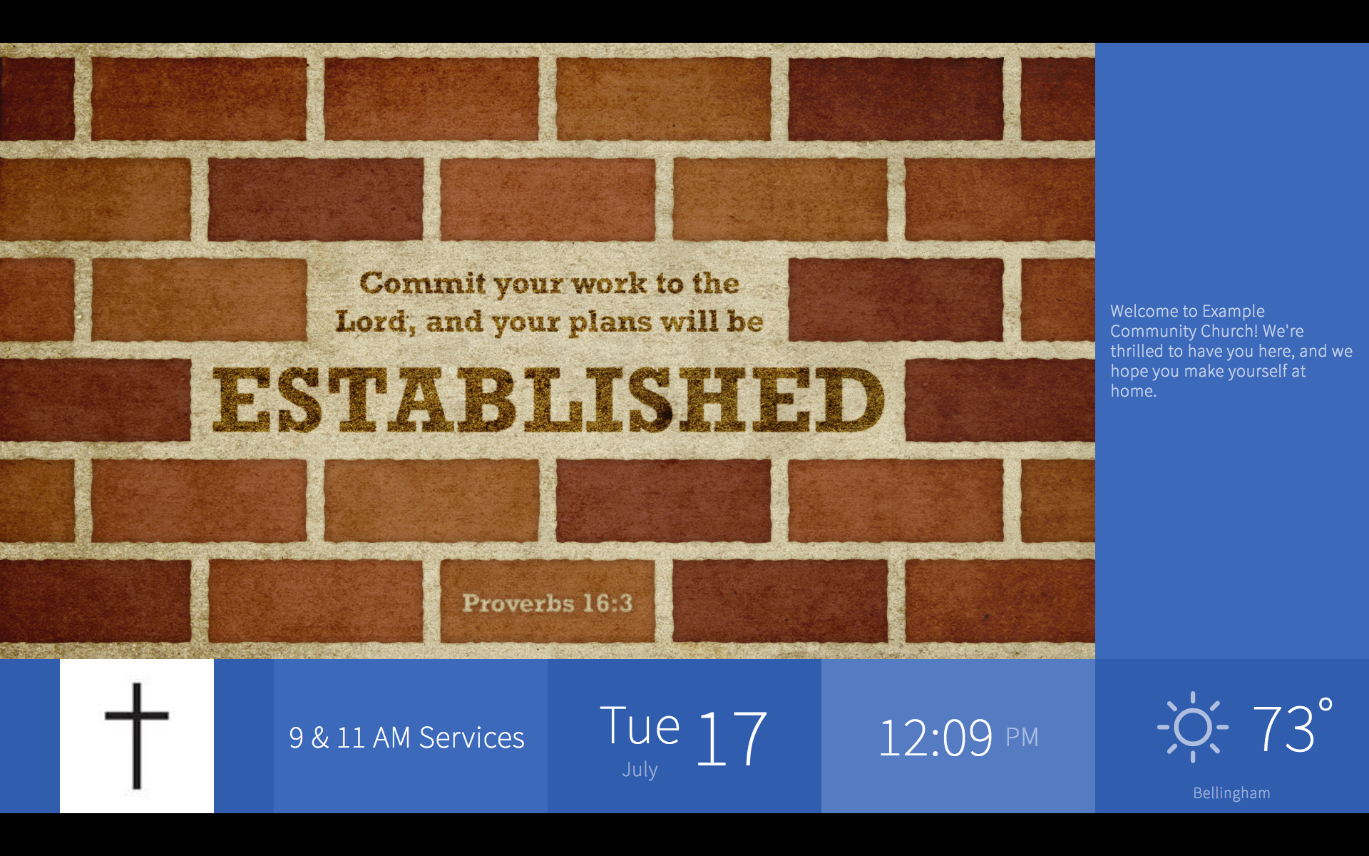 example of church digital signage showing a Bible verse