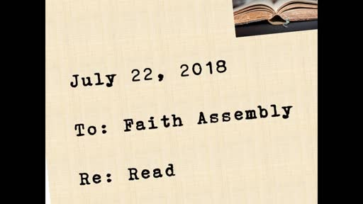 Sunday July 22, 2018 RE: Read
