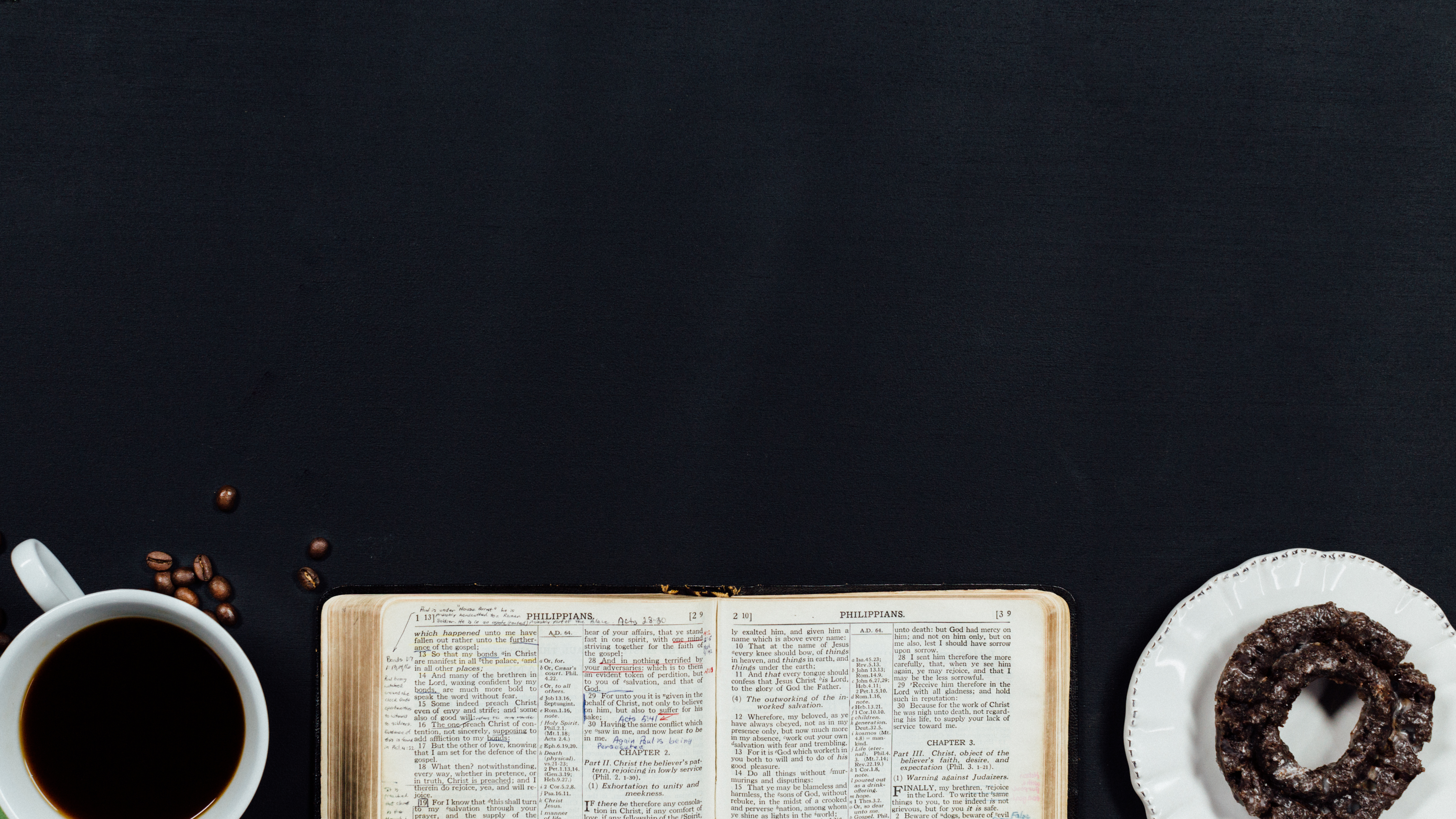Coffee, Bible and donut