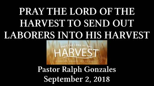 PCANTIOCH - PRAY THE LORD OF THE HARVEST TO SEND OUT LABORERS INTO HIS HARVEST - SUNDAY SEPTEMBER 2, 2018