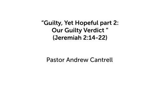 """Guilty, Yet Hopeful part 2: Our Guilty Verdict"""