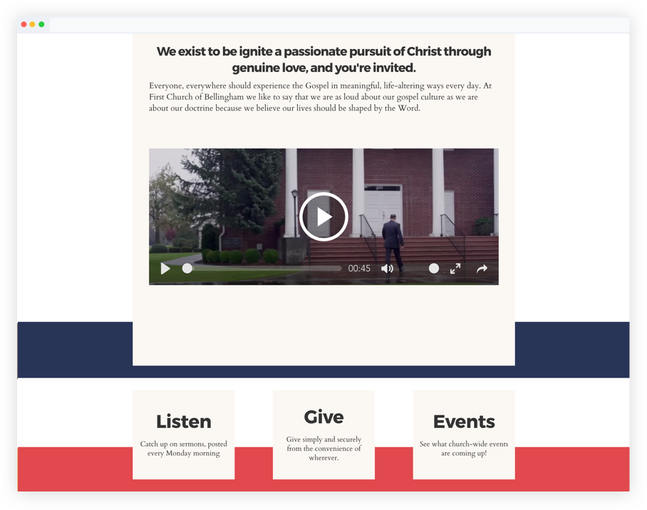 Church website builder with integrated online giving platform