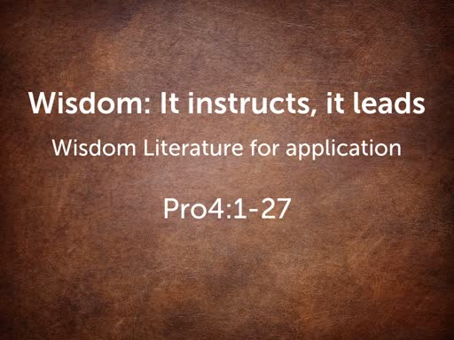 Wisdom: It instructs, it leads