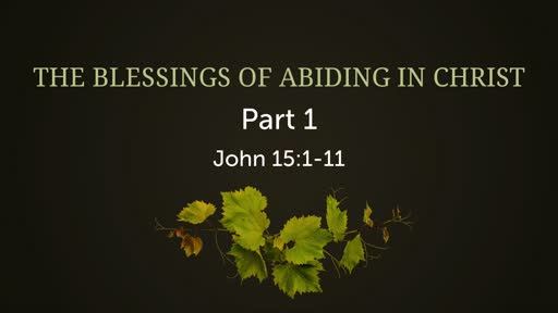 The Blessings of Abiding in Christ, Part 1