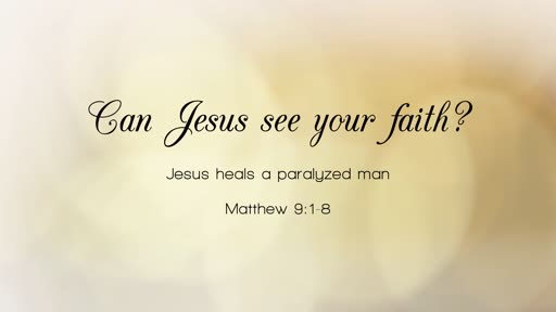 11/4/18 Can Jesus see your faith?  Matt. 9:1-8