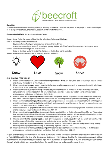 Vision Mission And Values For Beecroft Presbyterian Church