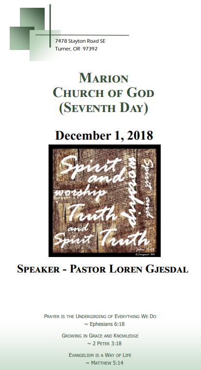 Bulletins - Church of God (Seventh Day), Marion OR - Faithlife