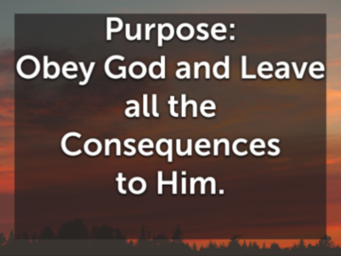 Obey God and Leave the Consequences to Him