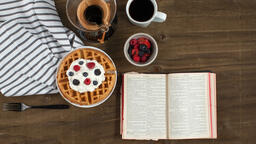 Breakfast waffle and the bible 16x9 a3b6db20 f208 4648 b89e a576626fd0d0 image