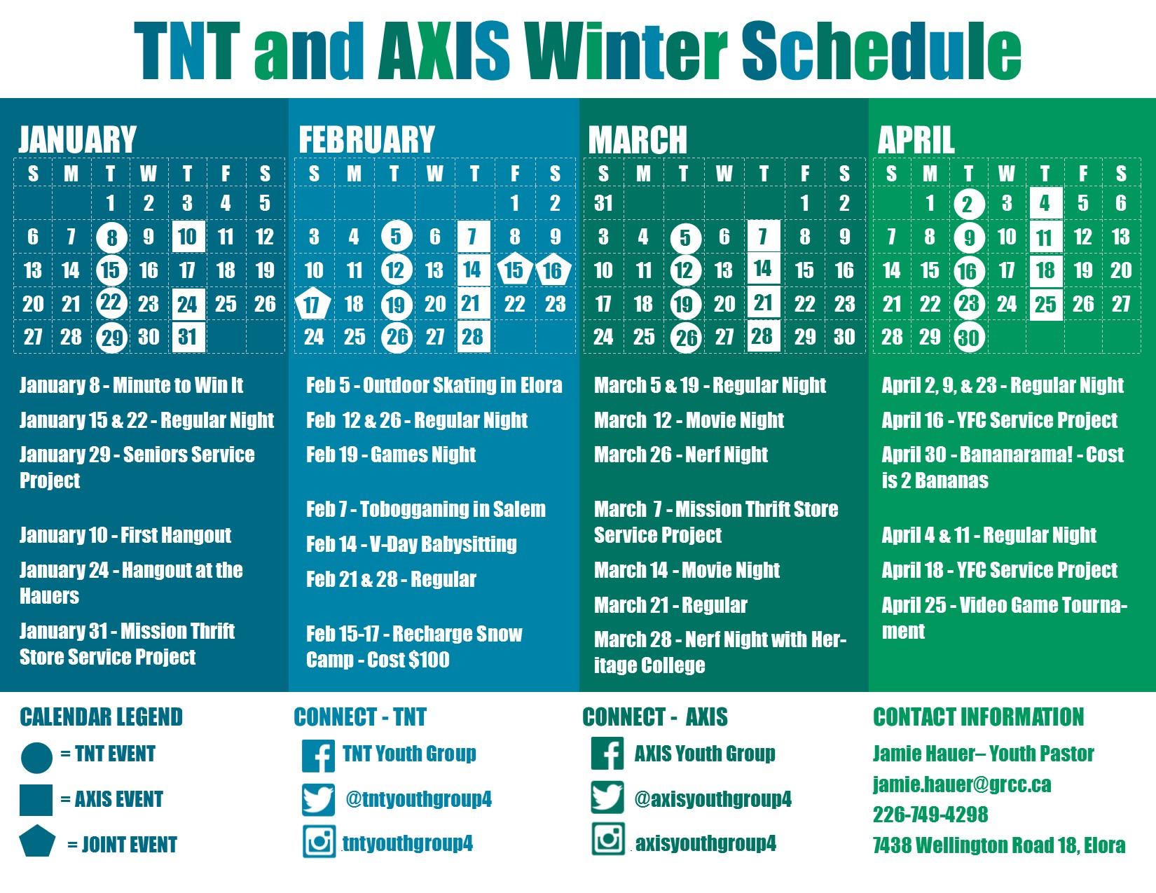 Winter 2019 Calendar