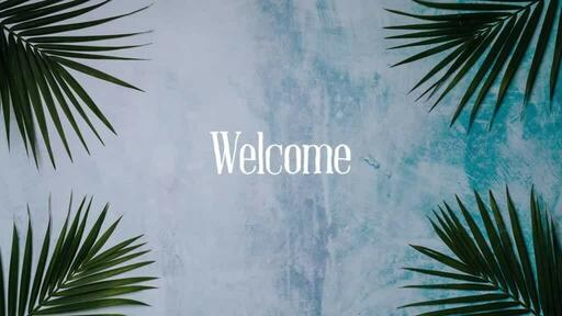 Palm Leaves Blue - Welcome