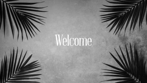 Palm Leaves Grey - Welcome