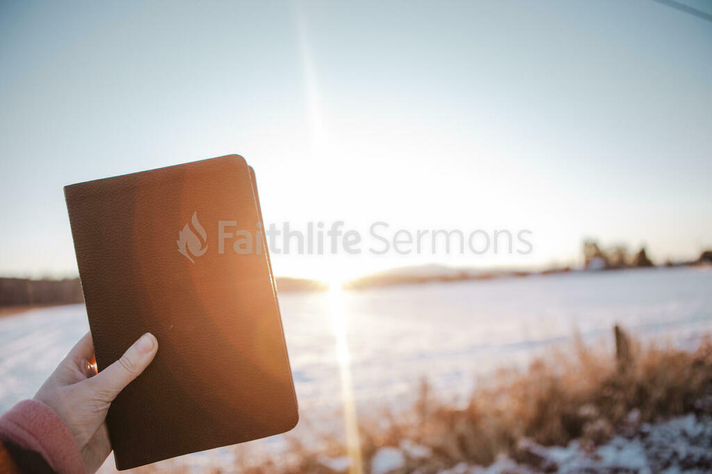 Hand in Frame Holding Bible large preview