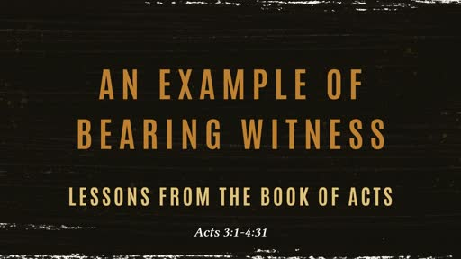 Example of bearing witness Acts 3-4