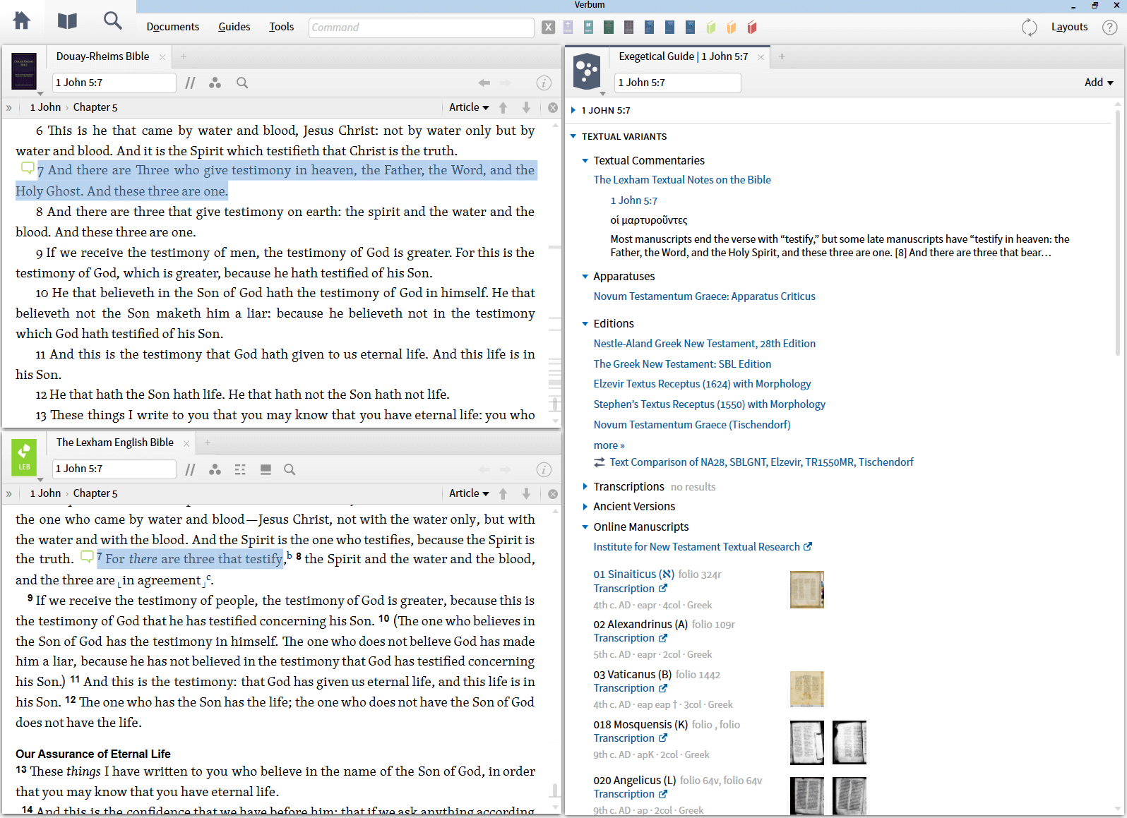 Understand textual variants for 1 John 5:7