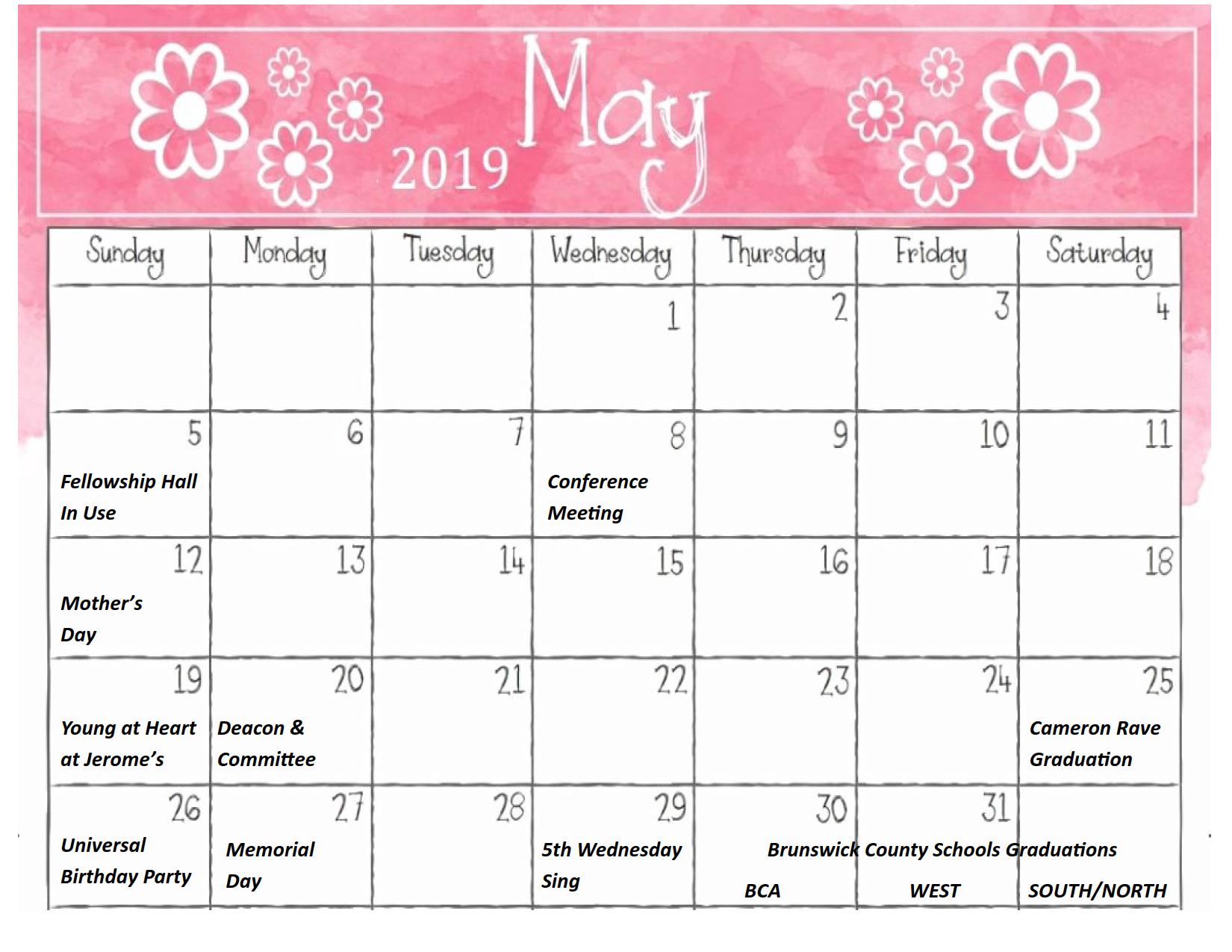 May 2019 Calendar 1