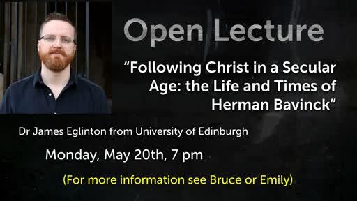 Open Lecture with James Eglington