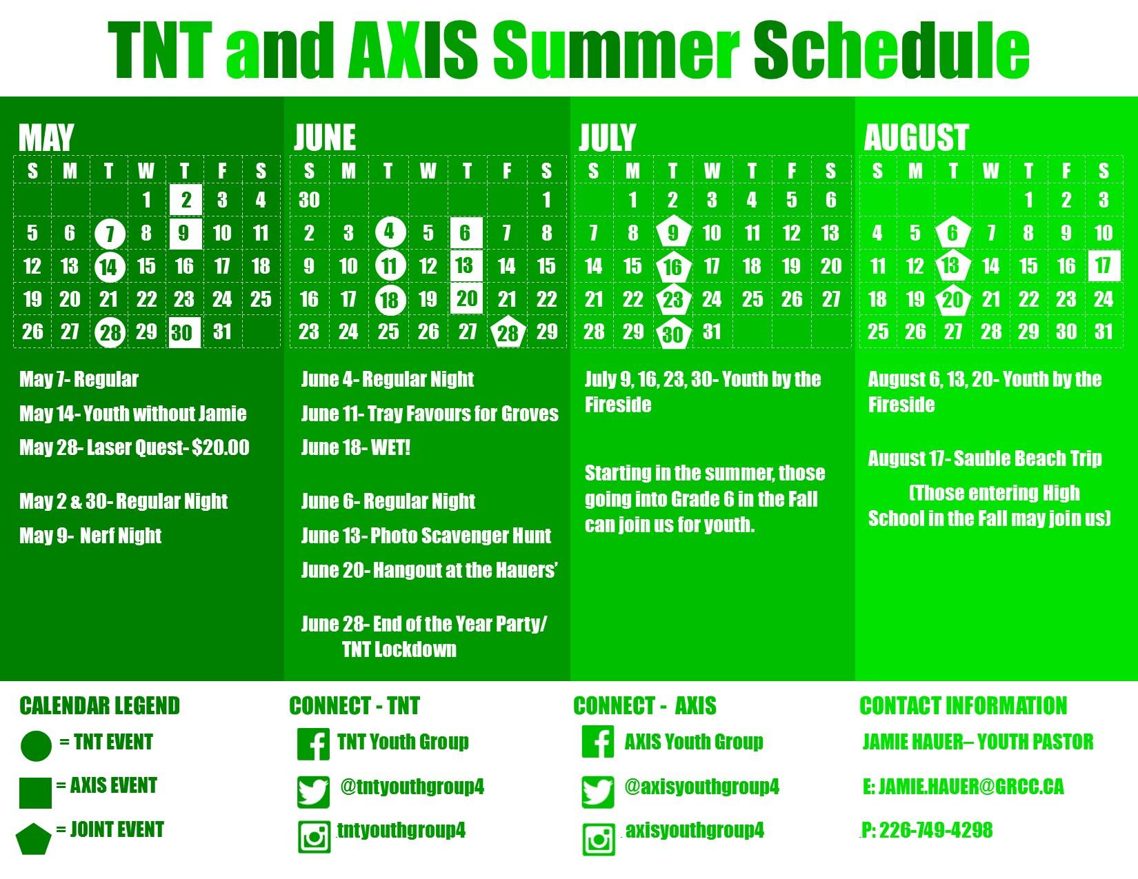Summer 2019 Calendar