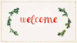 Watercolor Christmas Wreath welcome PowerPoint Photoshop image