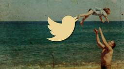 Nostalgic Beach Trip twitter PowerPoint image