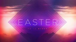 Purplescape easter he is risen PowerPoint image
