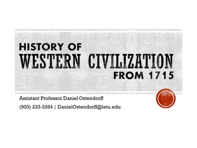 History of Western Civilization from 1715
