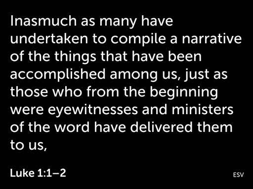 1. 'Certain About the Saviour' (Luke 1:1-4)