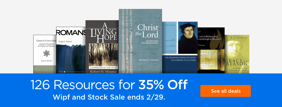 126 Wipf and Stock titles at 35% off regular price.
