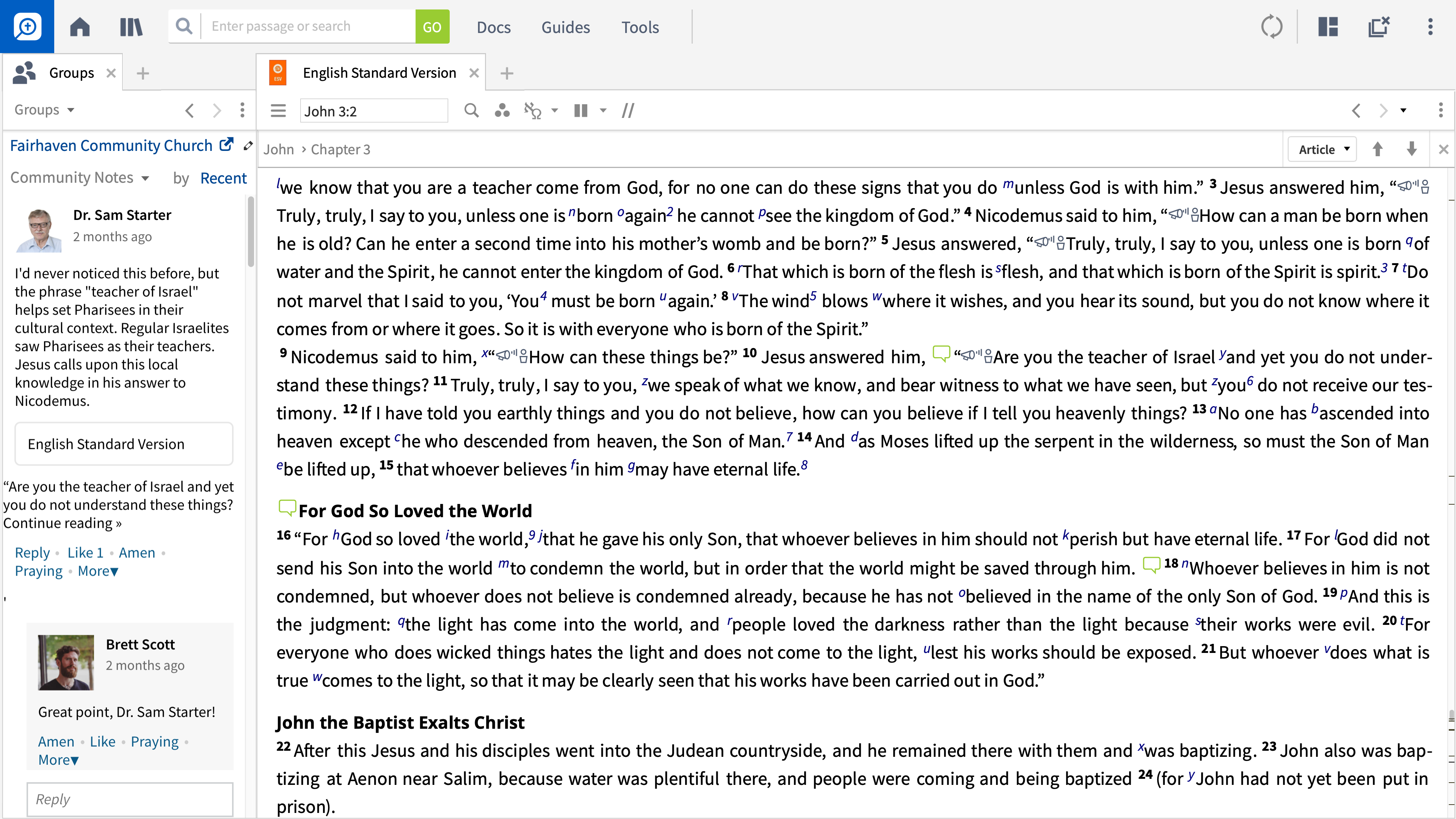 Logos is showing Community Notes from others in common Faithlife groups.