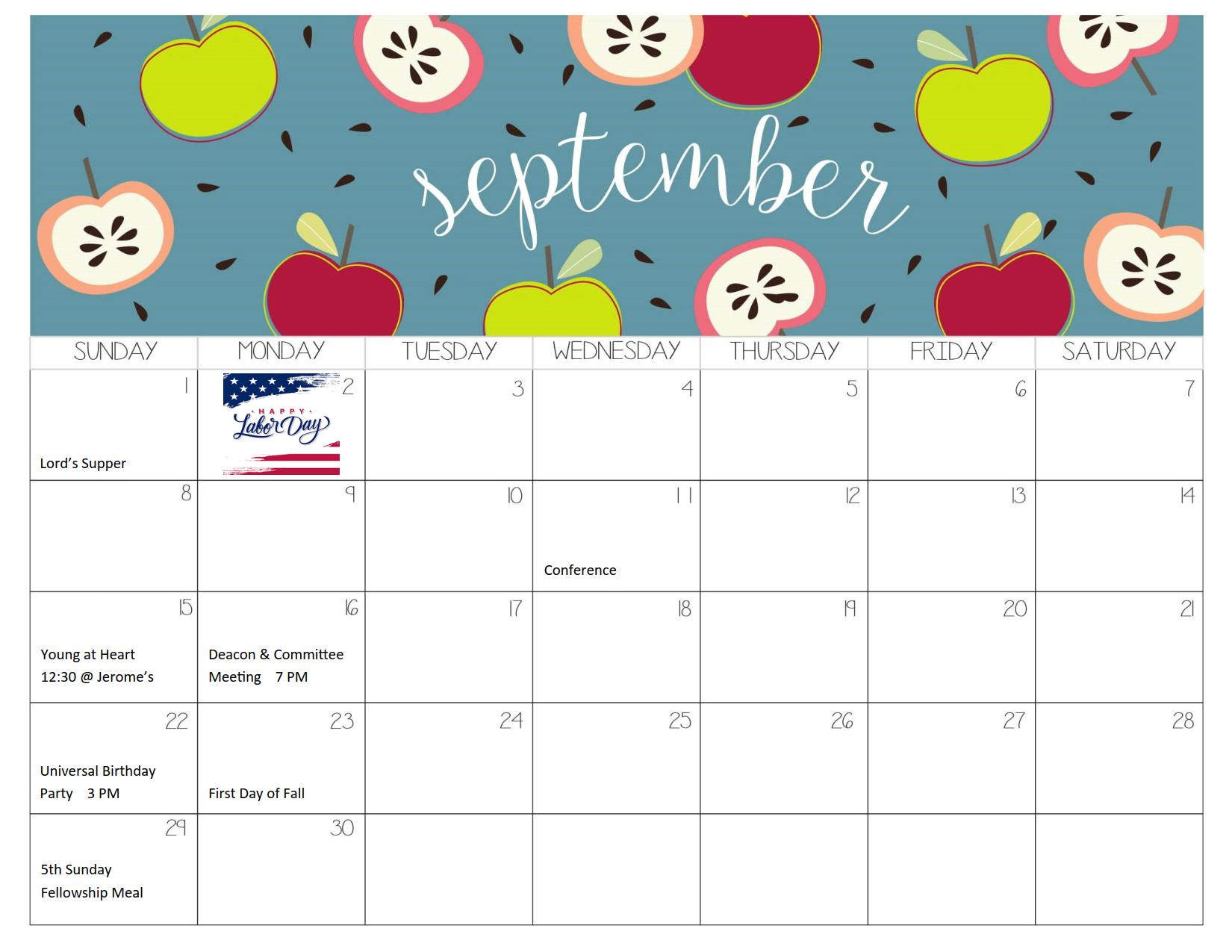 September 2019 Calendar 1