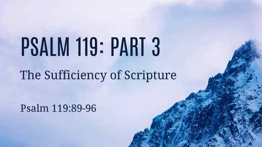 Psalm 119: Part 3: The Sufficiency of Scripture