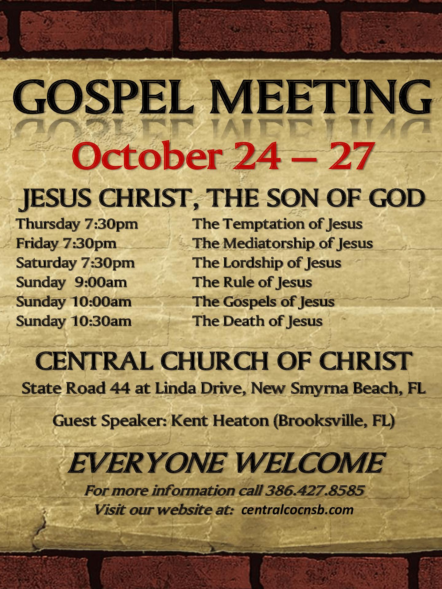 GOSPEL MEETING NEW SMYRNA 2019 October