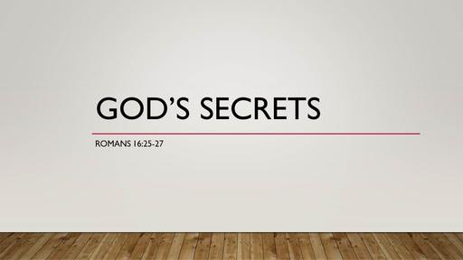 God's Secrets (Romans 16)