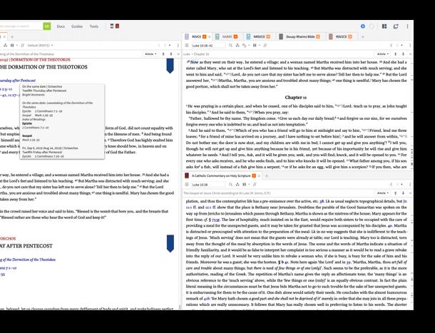 Julian, Gregorian, and Revised Julian Byzantine Lectionaries demo screenshot