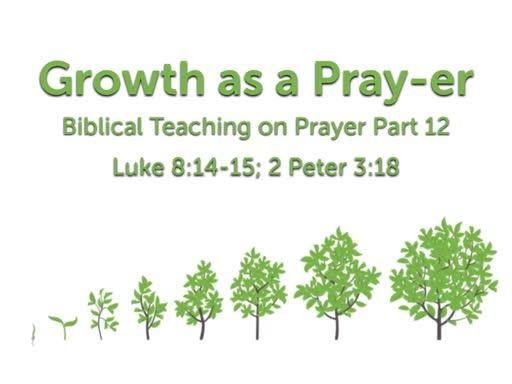 Prayer Part 12: Growing in Prayer