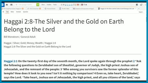 Haggai 2:8-The Silver and the Gold on Earth Belong to the Lord