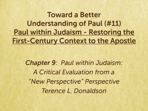 191004 - Toward a Better Understanding of Paul - Paul within Judaism Ch 9