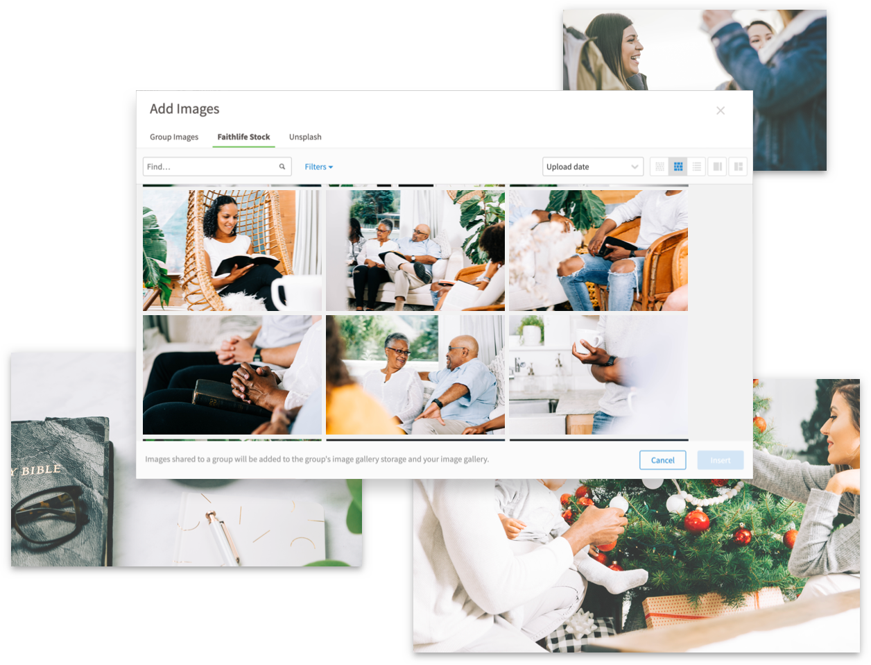 Example of stock photography in site builder