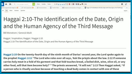 Haggai 2:10-The Identification of the Date, Origin and the Human Agency of the Third Message