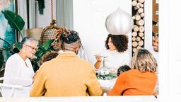 Family Enjoying Thanksgiving Dessert Together  image 2