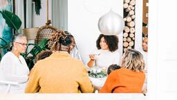 Family Enjoying Thanksgiving Dessert Together  image 3