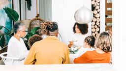 Family Enjoying Thanksgiving Dessert Together  image 4