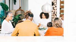 Family Enjoying Thanksgiving Dessert Together  image 5