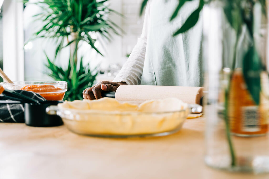 Woman Baking Pumpkin Pie large preview
