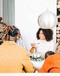 Family Enjoying Thanksgiving Dessert Together  image 6
